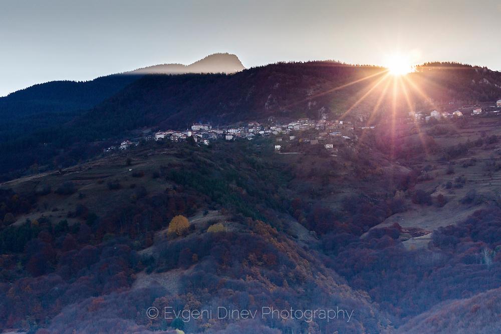 Above Vacha lake Osikovo village at sunrise