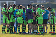 FGR players at the end of the match during the Vanarama National League match between Guiseley  and Forest Green Rovers at Nethermoor Park, Guiseley, United Kingdom on 8 April 2017. Photo by Shane Healey.