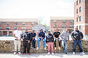 Baltimore, Maryland - April 21, 2015: A group of men who say they new Freddie Gray stand for a portrait in the West Baltimore public housing neighborhood where Freddie Gray was detained by police, and eventually died from  injuries while in custody. <br /> <br /> CREDIT: Matt Roth for The New York Times<br /> Assignment ID: 30173645A