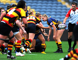 Brooke Bradley of Worcester Valkyries is tackled by Rachel Laqeretabua of Richmond Women - Mandatory by-line: Nizaam Jones/JMP - 22/09/2018 - RUGBY - Sixways Stadium - Worcester, England - Worcester Valkyries v Richmond Women - Tyrrells Premier 15s