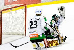 Matija Pintaric of Olimpija during ice-hockey match between HK Acroni Jesenice and HDD Tilia Olimpija in fourth game of Final at Slovenian National League, on April 8, 2011 at Arena Podmezakla, Jesenice, Slovenia. (Photo by Vid Ponikvar / Sportida)