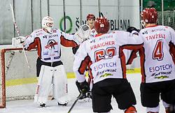 Clarke Saunders and other players of Jesenice celebrate during ice hockey match between  HK SZ Olimpija and HDD SIJ Acroni Jesenice in 23rd Round of AHL - Alps Hockey League 2017/18, on December 16, 2017 in Hala Tivoli, Ljubljana, Slovenia. Photo by Vid Ponikvar / Sportida