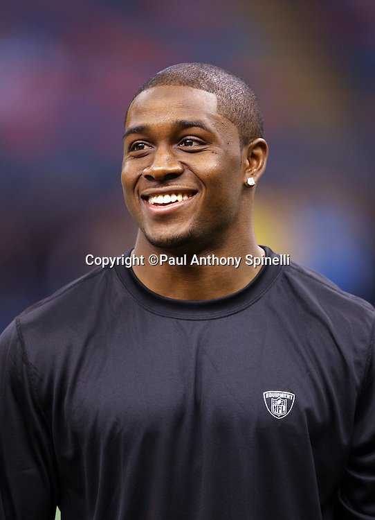 NEW ORLEANS - DECEMBER 07: Running back Reggie Bush #25 of the New Orleans Saints smiles as he chats on the sidelines before the game against the Atlanta Falcons at the Louisiana Superdome on December 7, 2008 in New Orleans, Louisiana. The Saints defeated the Falcons 29-25. ©Paul Anthony Spinelli *** Local Caption *** Reggie Bush