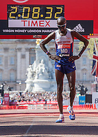 Mo Farah of Great Britain having finished 8th in the Elite Men's race at the end of the Virgin Money London Marathon 2014 on Sunday 13 April 2014<br /> Photo: Roger Allan/Virgin Money London Marathon<br /> media@london-marathon.co.uk