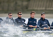 Putney, GREAT BRITAIN,   Oxford Blue Boat - Training in the rough water on the Hammersmith Bend, 2009 Boat Race,  Rowing 'Championship Course' Putney to Mortlake, on the River Thames, Wed 25.03.2009. [Mandatory Credit, Peter Spurrier / Intersport-images].Oxford Crew,left to right, Alex HEARNE, Ben HARRISON, Sjoerd HAMBURGER, Tom SOLESBURY, Rough, Choppy, Water, Conditions.