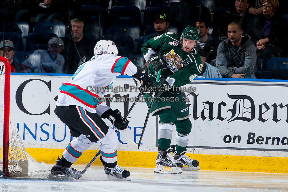KELOWNA, CANADA - JANUARY 08: Lucas Johansen #7 of Kelowna Rockets blocks a pass by Carson Stadnyk #16 of Everett Silvertips on January 8, 2016 at Prospera Place in Kelowna, British Columbia, Canada.  (Photo by Marissa Baecker/Shoot the Breeze)  *** Local Caption *** Lucas Johansen; Carson Stadnyk;