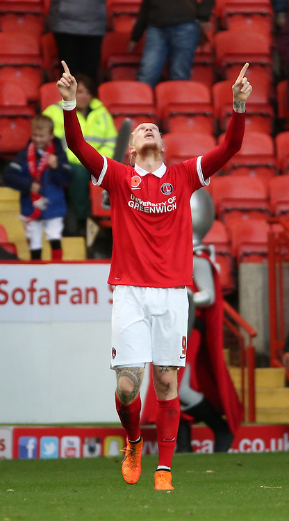 Charlton Athletic striker Simon Makienok celebrating after scoring Charltons second goal to put the score 2-0 during the Sky Bet Championship match between Charlton Athletic and Sheffield Wednesday at The Valley, London, England on 7 November 2015. Photo by Matthew Redman.