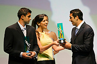 "20091207: RIO DE JANEIRO, BRAZIL - Brazilian Football Awards 2009 (""Craque Brasileirao 2009""), held at the Museum of Modern Art in Rio de Janeiro. In picture: L-R - Danilo (Palmeiras, 2nd) and Andre Dias (Sao Paulo) - Best right defender - right side. PHOTO: CITYFILES"