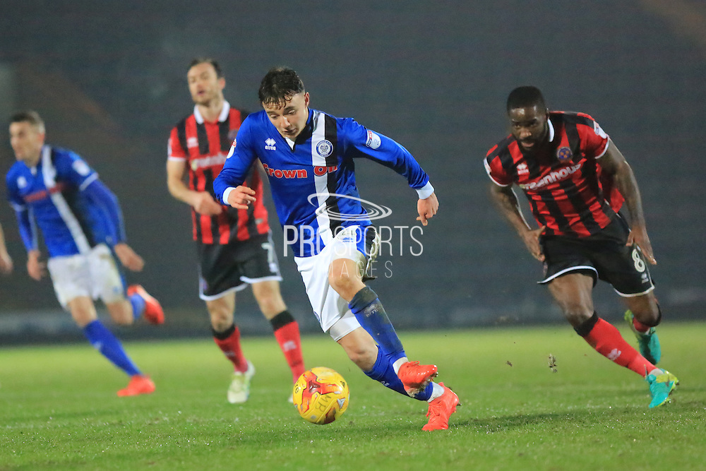 Ollie Rathbone during the EFL Sky Bet League 1 match between Rochdale and Shrewsbury Town at Spotland, Rochdale, England on 30 December 2016. Photo by Daniel Youngs.