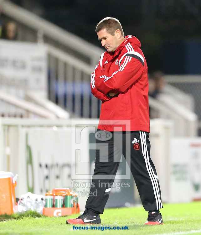 Sheffield United manager Nigel Clough during the Johnstone's Paint Trophy match at Victoria Park, Hartlepool<br /> Picture by Simon Moore/Focus Images Ltd 07807 671782<br /> 07/10/2014