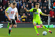Huddersfield Town forward Jamie Paterson on the attack during the Sky Bet Championship match between Derby County and Huddersfield Town at the iPro Stadium, Derby, England on 5 March 2016. Photo by Aaron Lupton.