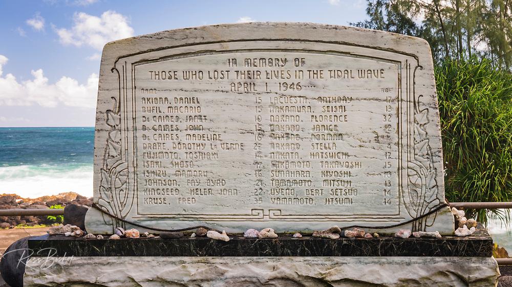 Memorial to 1946 Tsunami victims at Laupahoehoe Point Park, Laupahoehoe, The Big Island, Hawaii USA