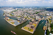 Nederland, Zuid-Holland, Rotterdam, 10-06-2015; Het Park met Euromast, Parkhaven, Muellerpier, Sint Jobshaven, Lloydkwartier. Delfshaven met Coolhaven in de achtergrond.<br /> Rotterdam centre with newly developed former harbour ara.<br /> luchtfoto (toeslag op standard tarieven);<br /> aerial photo (additional fee required);<br /> copyright foto/photo Siebe Swart