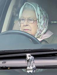 © Licensed to London News Pictures. 12/05/2017. Windsor, UK. HRH QUEEN ELIZABETH II seen driving a Range Rover on day three of the Royal Windsor Horse show. The five day equestrian event takes place in the grounds of Windsor Castle. Photo credit: Ben Cawthra/LNP