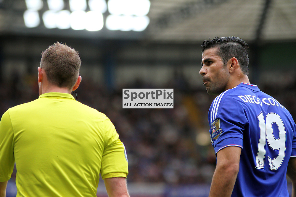 Diego Costa stares down the linesman During Chelsea vs Crystal Palace on Saturday the 29th August 2015