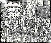 William Tyndale, being burnt at the stake in Belgium, cries 'Lord, open the king of England's eyes.'