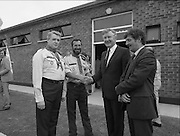 Ballymun Scout Hall.1982.28.07.1982.07.28.1982.28th July 1982.Sean Doherty TD Opens Ballymun Scout Hall,Albert College Drive, Dublin 9 ..The Minister is welcomed by Mr Noel Mc Carthy,101st unit scout leader,Chief Scout Mr Joe Lawlor (left) and by Mr Martin Smyth. Mr Smyth is theChairman of the 101stUnit Committee.
