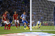Brighton midfielder, winger, Kazenga LuaLua scores to make it 1-0 to Brighton during the Sky Bet Championship match between Brighton and Hove Albion and Nottingham Forest at the American Express Community Stadium, Brighton and Hove, England on 7 August 2015.