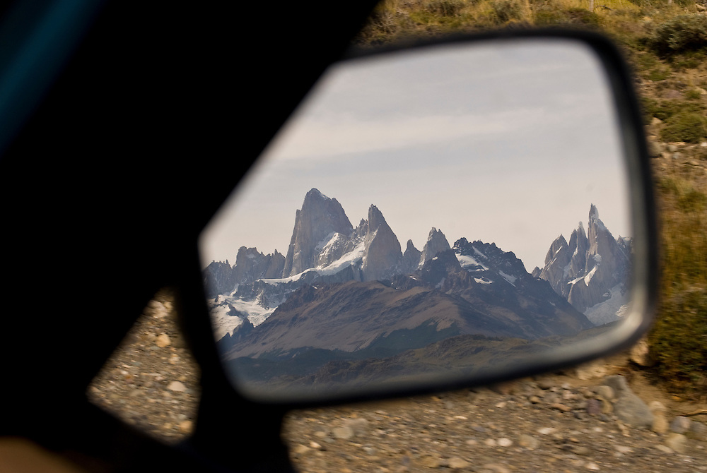 The final glimpse of the Fitzroy and Cerro Torre massifs until next year.  Patagonia, Argentina