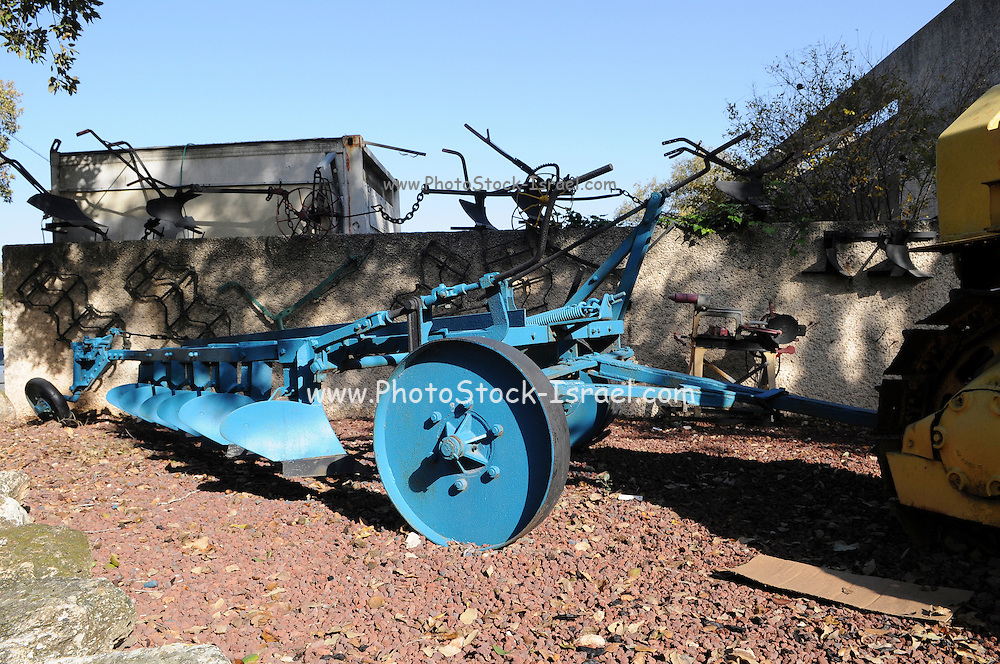Israel, Lower Galilee, Kibbutz Alonim founded 1938. Display of old agricultural plough