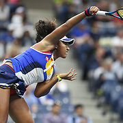 2017 U.S. Open Tennis Tournament - DAY TWO.  Naomi Osaka of Japan in action against Angelique Kerber of German during the Women's Singles round one at the US Open Tennis Tournament at the USTA Billie Jean King National Tennis Center on August 29, 2017 in Flushing, Queens, New York City.  (Photo by Tim Clayton/Corbis via Getty Images)