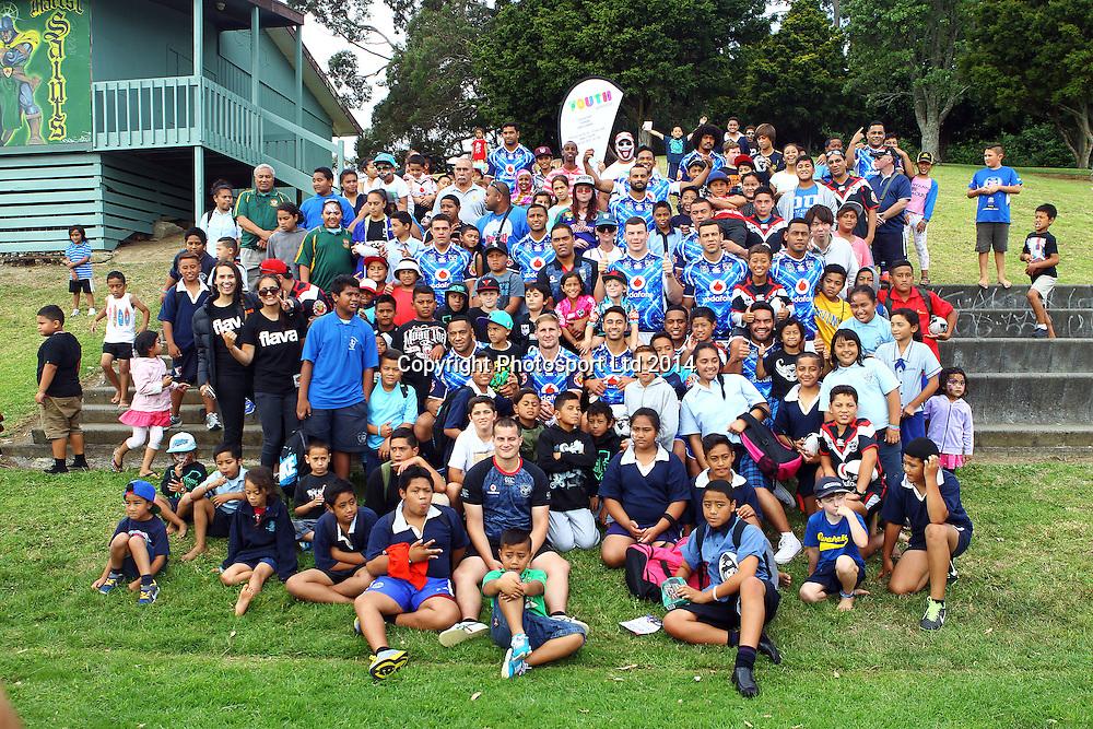Team Photo, Dick Smith NRL Nines rugby league Community Club Visit, Vodafone Warriors visit the Marist Saints, Murray Halberg Park, Mt Albert, Auckland. 13 February 2014. Photo: William Booth/www.photosport.co.nz