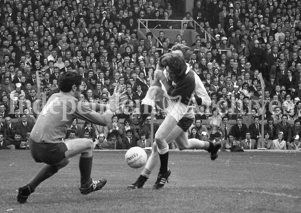 Paddy Cullen,the Dublin goalkeeper, makes a save against Galway in the All-Ireland Football Final at Croke Park.(Part of the Independent Newspapers ireland/NLI collection.)