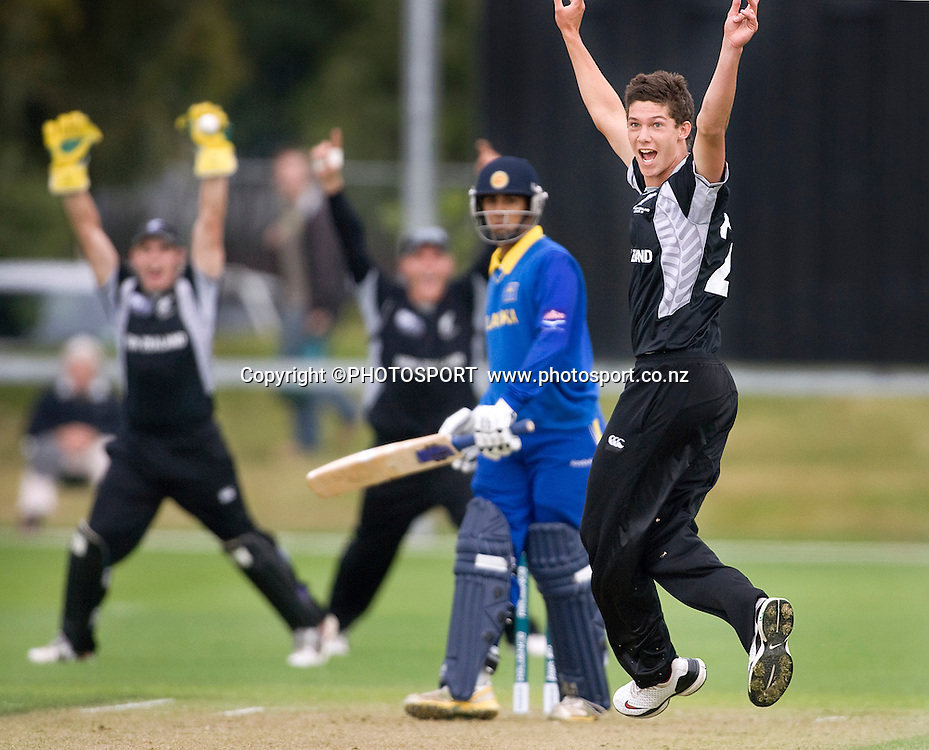 New Zealand's Ben Wheeler appeals successfully for caught behind of batsman Andri Berenger. New Zealand v Sri Lanka, U19 Cricket World Cup group stage match, Village Green, QEII, Christchurch, Wednesday 20 January 2010. Photo : Joseph Johnson/PHOTOSPORT