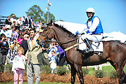 27 March 2010 : Trainer Todd McKenna holds timber race winner MEET AT ELEVEN and Carl Rafter in the winners circle.