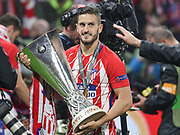 Koke of Atletico Madrid celebrates during the Europa League Final match between Olympique de Marseille and Atletico Madrid at Orange Velodrome, Marseille, France on 16 May 2018. Picture by Ahmad Morra.
