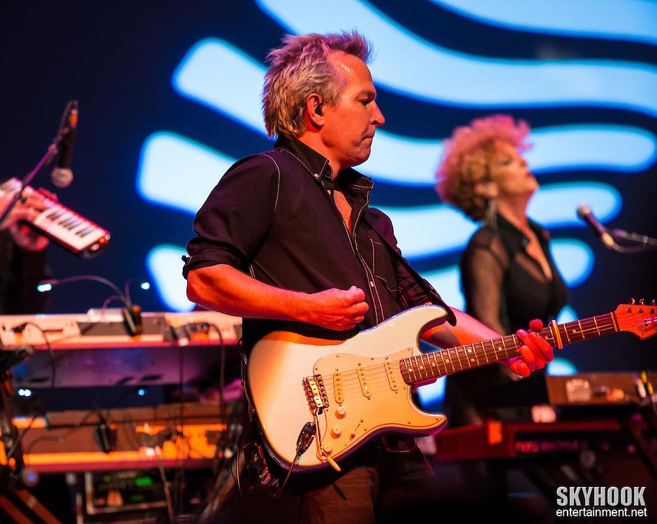 Newark, NJ:  Guitarist Keith Mack of the Cyndi Lauper band performing at the NJ Performing Arts Center, July 7, 2013. Photo: Rick Gilbert/SipaUSA