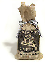grey dog brand of coffee beans in a burlap sack