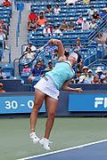 Ashleigh Barty (AUS) hits a serve to Maria Sharapova (RUS) during the Western and Southern Open tennis tournament at Lindner Family Tennis Center, Wednesday, Aug 14, 2019, in Mason, OH. (Jason Whitman/Image of Sport)