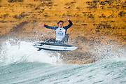 Jordy Smith (ZAF) won the Corona Highline heat at the 2018 Rip Curl Pro Bells Beach at Bells Beach, VIC, Australia.  Smith now holds two Corona Highline heat wins after his win in Jeffreys Bay in 2017 and now Bells Beach in 2018. . FOR EDITORIAL NEWS USE ONLY