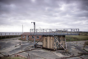© Licensed to London News Pictures. 22/10/2017. Bawdsey, UK.  A platform that contained radar equipment lies empty. RAF Bawdsey, WW2 radar and Cold-War Bloodhound Surface to Air Missile (SAM) base at Bawdsey Ferry, Suffolk, today 22nd October 2017. The base was decommissioned in 1991 leaving behind a deserted base.  Photo credit: Stephen Simpson/LNP