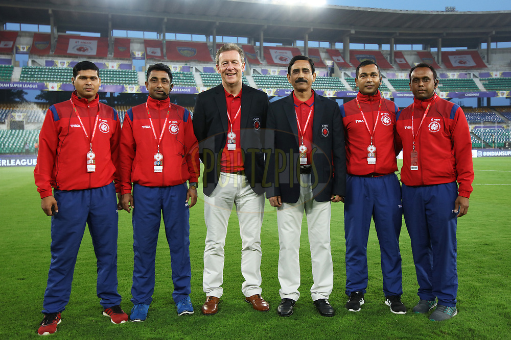 Match officials during match 46 of the Hero Indian Super League between Chennaiyin FC and FC Pune City held at the Jawaharlal Nehru Stadium, Chennai India on the 13th January 2018<br /> <br /> Photo by: Saikat Das  / ISL / SPORTZPICS