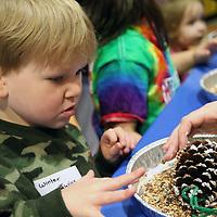 Libby Ezell | BUY AT PHOTOS.DJOURNAL.COM<br /> Jacob Calmes, 4 makes a pinecone birdfeeder Saturday at Healthworks 7th Birthday