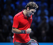 Switzerland's Roger Federer wins the second set 1-1 during the Semi Final of Barclays ATP World Tour 2014 between Switzerland's Roger Federer and Switzerland's Stan Wawrinka, O2 Arena, London, United Kingdom on 15th November 2014 © Pro Sports Images