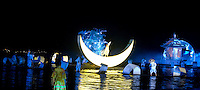 """Every night in Yangshuo Zhang Yimou's """"Liu Sanjie Impressions"""" performance is carried out on the Li River using the spectacular limestone karsts as a backdrop and more than 500 local performers."""