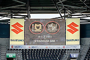 Stadium MK scoreboard  during the EFL Sky Bet League 1 match between Milton Keynes Dons and Port Vale at stadium:mk, Milton Keynes, England on 9 October 2016. Photo by Dennis Goodwin.