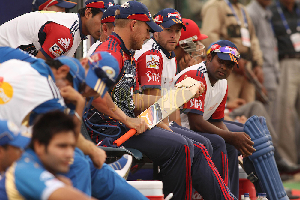Aaron Finch of the Delhi Daredevils looks at Morne Morkel of the Delhi Daredevils broken bat during match 4 of the Indian Premier League ( IPL ) Season 4 between the Delhi Daredevils and the Mumbai Indians held at the Feroz Shah Kotla Stadium in Delhi, India on the 10th April 2011..Photo by Shaun Roy/BCCI/SPORTZPICS