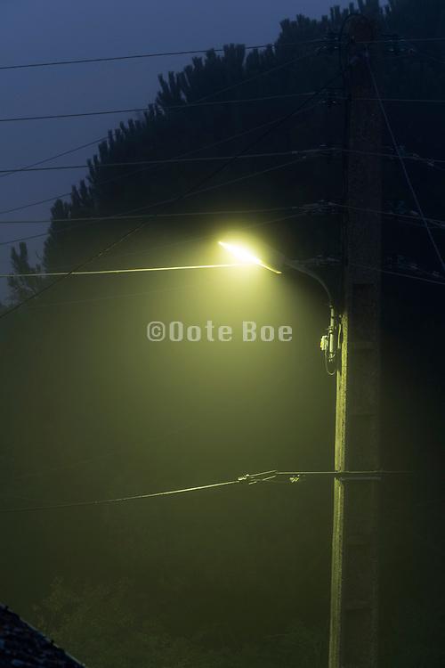 street lights in fog