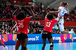 08-12-2019 JAP: Angola - France, Kumamoto<br /> First round President's Cup match Angola - France (17-28) at 24th IHF Women's Handball World Championship. / Orlane Kanor #21 of France