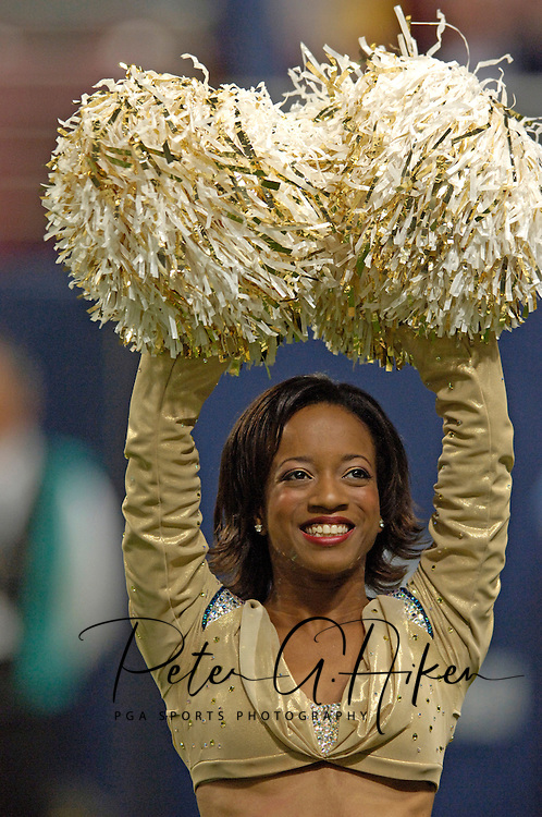 St. Louis Rams Cheerleader Ashley, preforms during the game against Seattle at the Edward Jones Dome in St. Louis, Missouri, October 9, 2005.