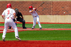 NORMAL, IL - May 01: Derek Parola bats, J Mark Huesman umps during a college baseball game between the ISU Redbirds and the Indiana State Sycamores on May 01 2019 at Duffy Bass Field in Normal, IL. (Photo by Alan Look)