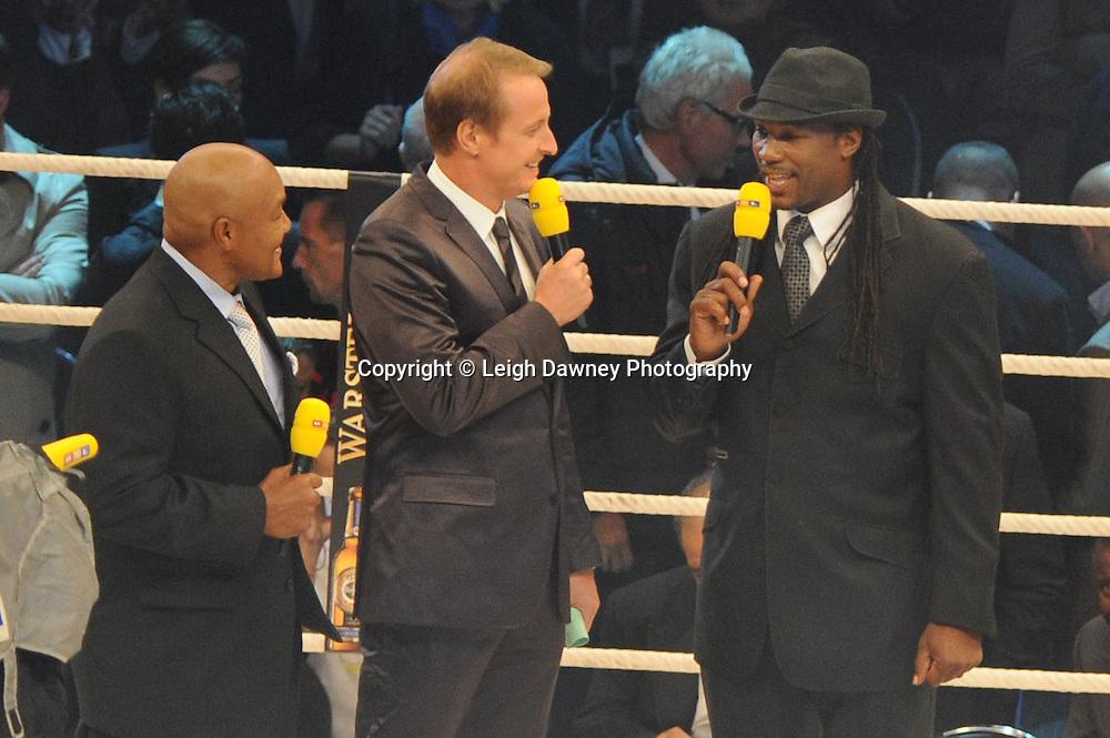 Lennox Lewis and George Foreman at David Haye v Wladimir Klitschko fight for the WBO, WBA & IBF Heavyweight Title at Imtech Arena, Hamburg, Germany, 2nd July 2011. Photo credit: Leigh Dawney 2011