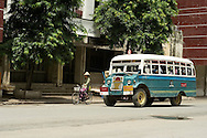 Myanmar old bus common at the streets of Mandalay