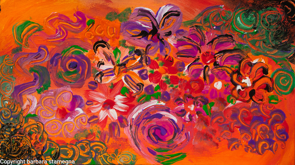 abstract colorful flower garden modern art composition on orange background with green red shades curls