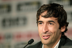 Real Madrid's Raul makes an emotional farewell press conference. July 26, 2010.