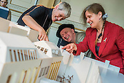 Royal Academicians Rebecca Slater, Bob and Roberta Smith Anne Desmet examine the model. Achitect, Sir David Chipperfield unveils plans for a major redevelopment of the Royal Academy of Arts which will be completed in time for its 250th anniversary in 2018. The project is the most important development of the Royal Academy in its history.  The development will allow key works from the Royal Academy's Collection to be brought out of store and go on view to the public. These include Queen Victoria's paintbox, Turner's travelling watercolour box, Joshua Reynolds' diaries, a rarely displayed Pissarro drawing, and letters between artists such as Thomas Gainsborough to Sir Joshua Reynolds. 11 May 2015.